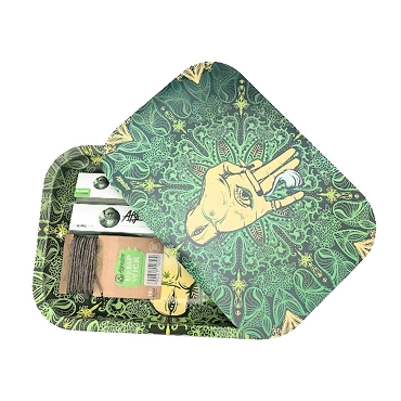 Afghan Hemp - Green Metal Rolling Tray Kit with Magnetic Lid, Rolling Papers, Hemp Wick