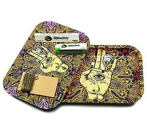 Afghan Hemp - Khaki Metal Rolling Tray Kit with Magnetic Lid, Rolling Papers, Hemp Wick
