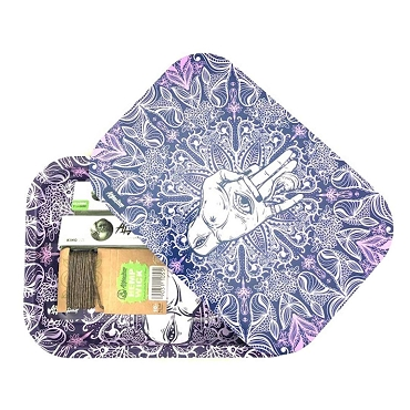 Afghan Hemp - Purple Metal Rolling Tray Kit with Magnetic Lid, Rolling Papers, Hemp Wick
